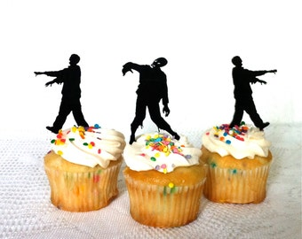 MADE In USA, Zombie Cupcake Toppers Set of 3, Halloween Cupcake Toppers, Zombie Apocalypse Cupcake Toppers, Zombie Silhouette, Zombie Party