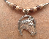Genuine Black Leather Necklace with a Pewter Horse and Ceramic Beads, Race Horse, Preakness, Bellmont, Winners Circle