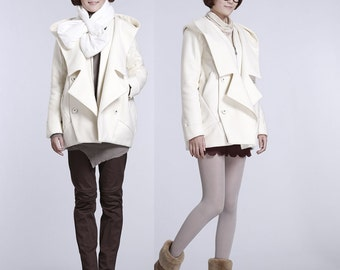 Thick white wool coat 2 pieces jacket