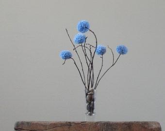 Pom Pom Flowers - Rustic Country Weddings - Periwinkle Blue Baby Nursery Decor - Shower/Party Decor - Minimalist Centerpiece - Summer Blooms