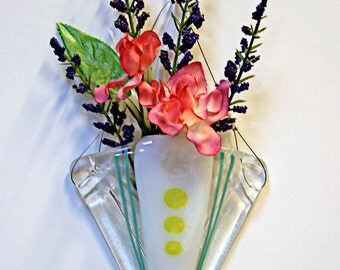 Wall Pocket Vase Fused Glass Art Deco Design