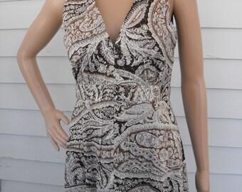 Hippie Maxi Dress Vintage 70s 1970s Metallic Brown Print Sleeveless Long Mr B S M
