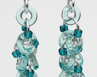 Chainmaille Earrings- Decadent Confection- Chainmaille with glass- Aluminum/Aqua/Teal