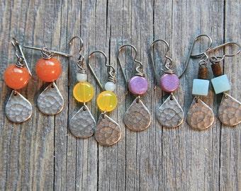 orange aventurine and hammered silver teardrop earrings 33
