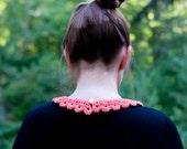 Peach detachable lace collar crochet vintage styled feminine fibre necklace accessory crocheted in cotton