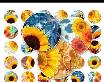 Sunflowers Bottle Cap Images - 8.5x11 Digital Collage Sheet (No.180) - 1 Inch Round Circles for Bottlecaps, Magnets, & So Much More