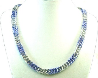 Chainmaille Jewellery, Half Persian, Lavender and Silver Necklace
