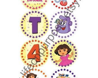 Dora Birthday Party Cupcake Toppers