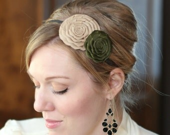 Adult Headband in Tan and Olive Green, Flower Headband for Women and Girls, Rosette Headband