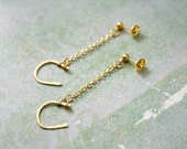 Textured Lucky Horseshoe Earrings Wire Wrapped Gold Brass and Chain Made to Order