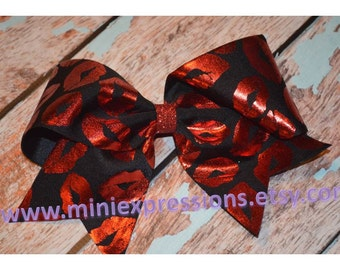 """3"""" Black and Red Kisses Cheer bow"""
