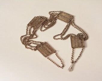 Vintage 1970s Filigree Chain Belt - Silver Toned Links - Boho Fashions