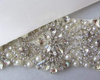 "Rhinestone & Pearl Sash, Bridal Belt, 17"" of Crystals, White, Ivory, Black, Blush, Pewter, Champagne, Custom Colors - DELIGHT"