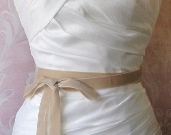 Champagne Velvet Ribbon, 1 Inch Wide, Beige, Buff, Wheat, Oatmeal Ribbon Sash, Bridal Sash, Wedding Belt, 3 Yards