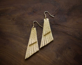 On a Wing Gold Leather Earrings