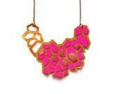Neon Pink Leather Statement Necklace, Metallic Gold Hexagon Bib Necklace, Pattern Geometric Jewelry