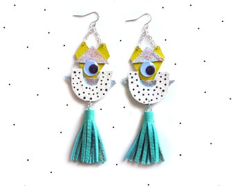 Holographic Geometric Eye Earrings, Cartoon Monster, Polka Dots and Mint Tassel Statement Earrings