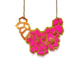 Geometric Necklace, Neon Pink Leather Statement Necklace, Metallic Gold Hexagon Bib Necklace, Pattern Geometric Jewelry