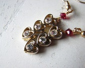 Heart earrings | small | gold | white rhinestone