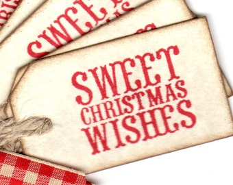 Sweet Christmas Wishes Tags, Christmas Gift Tags, Party Favor Tags, Baked Goods Cookies, Candy Gift Tags Labels - Vintage Look