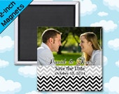 Photo Save the Date and Wedding Favor Magnets - Chevron - 2 Inch Square - Set of 10 Magnets
