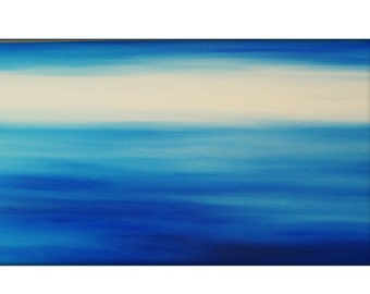 Large Original Abstract Seascape Canvas Contemporary/Modern Painting  - 36x60 - Blue-Greens, Baby blue, and more