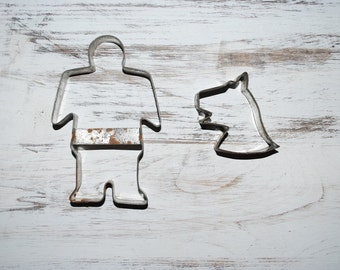 Primitive Man and Dog Cookie Cutters - Distressed Metal - 1920's - Folk Art Kitchen
