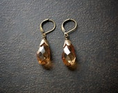 Topaz Luster Crystal Teardrop Earrings with Antique Gold Petal Bead Caps