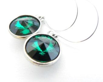 Bridesmaid Gift Ideas, Emerald Bridesmaid Earrings, Emerald Wedding Jewelry, Emerald Swarovski Earring, Green Rivoli Earring Sterling Silver