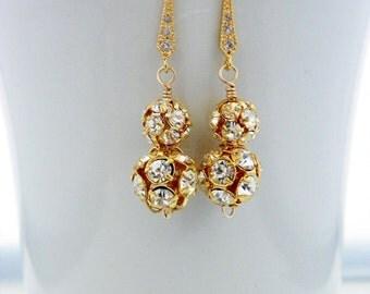 Gold Bridal Earrings, Gold Earrings, Old Hollywood Wedding Jewelry, Gold Bridesmaid Earring Dangle, Glam Wedding Earring, Prom Earring