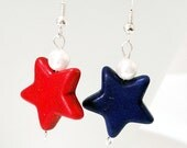 Red, White and Blue Stars Patriotic Silver Dangle Earrings Patriotic Jewelry - 4th of July Earrings