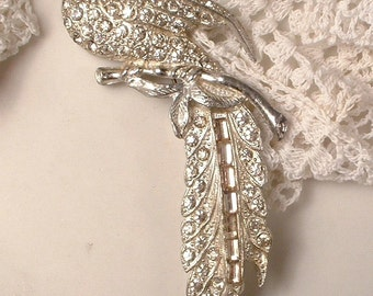 Brooch OR Hair Comb, 1920s - 1930s Large Art Deco Pave Rhinestone Bird, Vintage Long Silver Bridal Sash Pin or Wedding Head Dress Antique