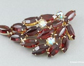 Juliana Style Brooch Pin Red & Pink Tinted AB Rhinestones