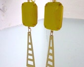 Vintage Yellow Lime Glass Octagon Gold Brass Geometric Dangle Earrings