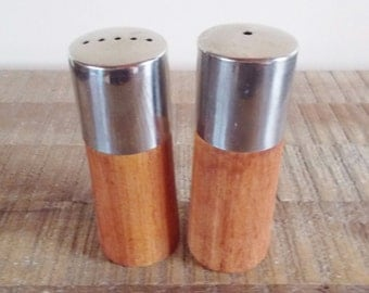 Mis Century Modern Wood and Stainless Steel Salt and Pepper Shakers