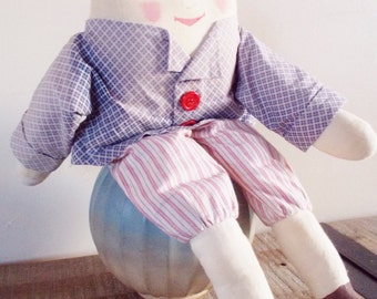 Vintage Humpty Dumpty Soft Stuffed Rag Doll