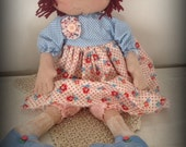 Primitive Vintage Inspired  Reproduction Fabric Annie Folk Art Handmade Rag Doll OFG HAFAIR AB4B