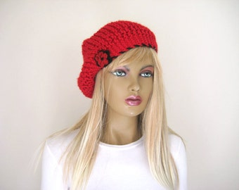 Winter Accessories - Red Slouchy Hat, Beanie - Red and Black Beret with Crochet Flower  - Gift for Her - New Item