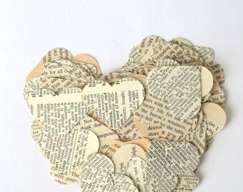 Vintage Book Paper Heart Confetti, medium size pieces, choose your quantity