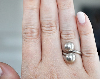 Vintage Sterling Silver Double Ball Ring