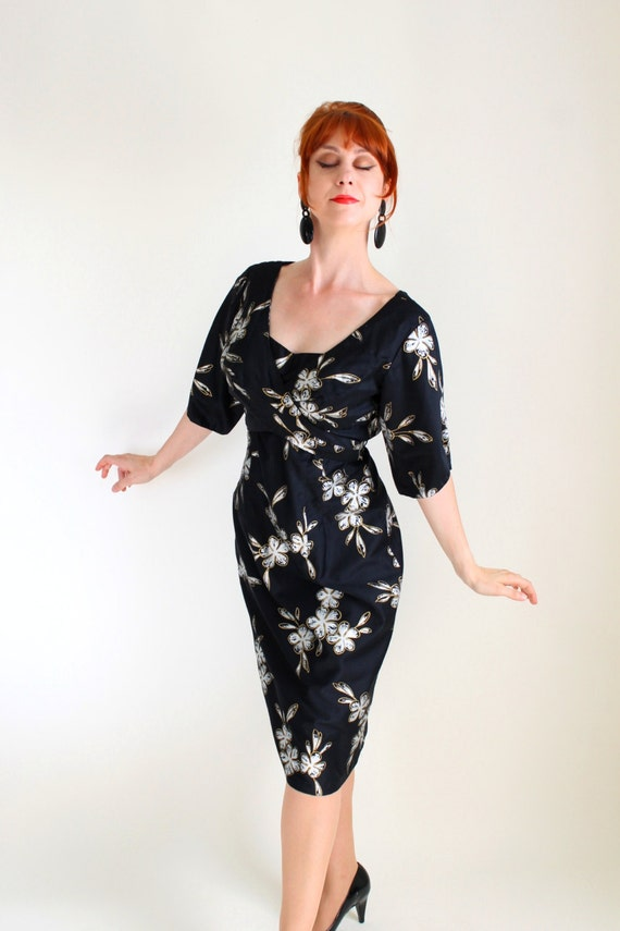 1950s Black Silver Floral Wiggle Dress Pin Up Style