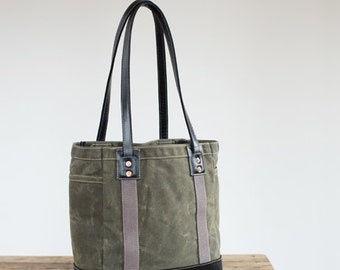 Carry Tote in Olive Waxed Canvas & Black Leather