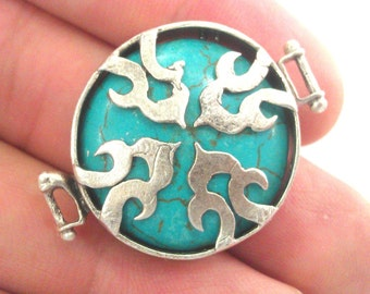 Silver Connector Turquoise   Connectors , Antique Silver Plated Brass  Bezels G1131