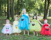 Elmo Cookie Monster Sesame Street Inspired Costume Tutu Dress for Halloween