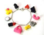 Girl Inspired Charm Bracelet - Handmade with Polymer Clay - Lipstick, Purse, Phone, Shirt, Skirt, Mirror, Music Note - Gift Under 50