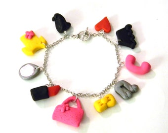 Girl Inspired Charm Bracelet - Handmade with Polymer Clay - Lipstick, Purse, Phone, Shirt, Skirt, Mirror, Music Note - Gift Under 50