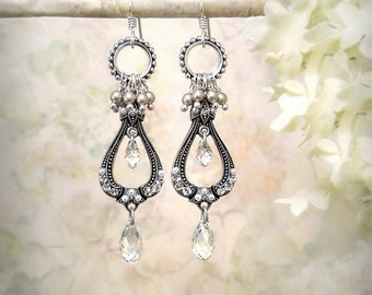 La Belle Époque, Silver Chandelier Earrings Vintage Style Clear Crystal Earrings Romantic Bohemian Pearl Earrings Edwardian Bridal Jewelry