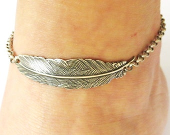 Steampunk Feather Anklet- Sterling Silver Ox Finish- Ankle Bracelet Medium Feather