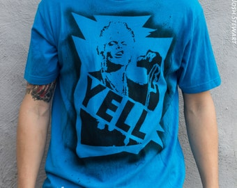 SALE Ready 2 Ship Free US Shipping 80s tshirt Billy Idol 2XL shirt Rebel Yell stencil and spray paint art by Rainbow Alternative on Etsy
