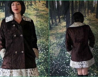 1960s - 70s - Chocolate & Faux Fur - Rock n Roll - Dress Coat - by Mary Lane